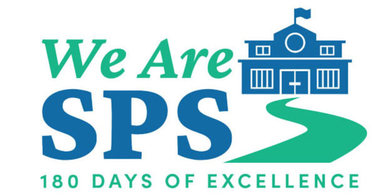 School building with the words We Are SPS 180 Days of Excellence